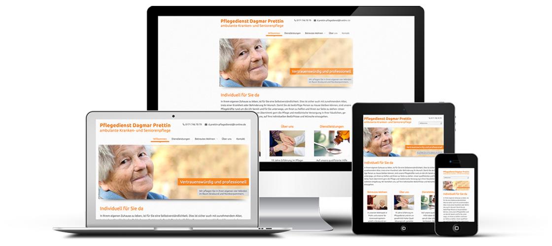 Webdesign für Pflegedienst Dagmar Prettin