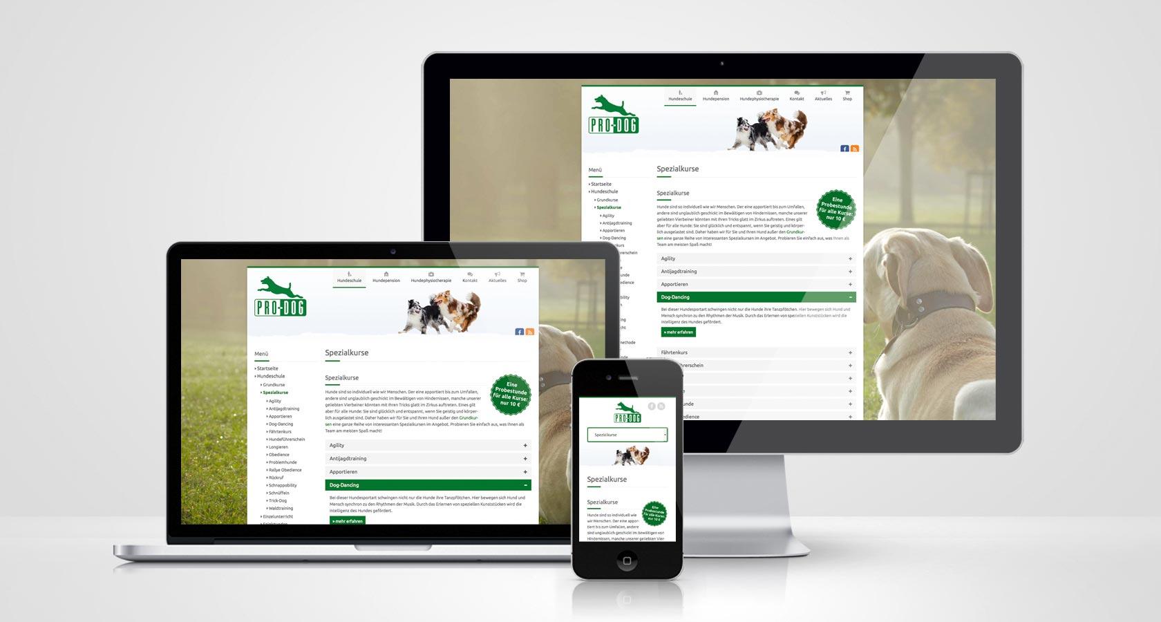 PRO-DOG Webseite Spezialkurse