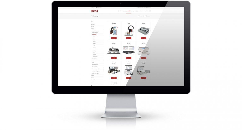 Webseite Hörniß Medizintechnik Produktübersichtsseite